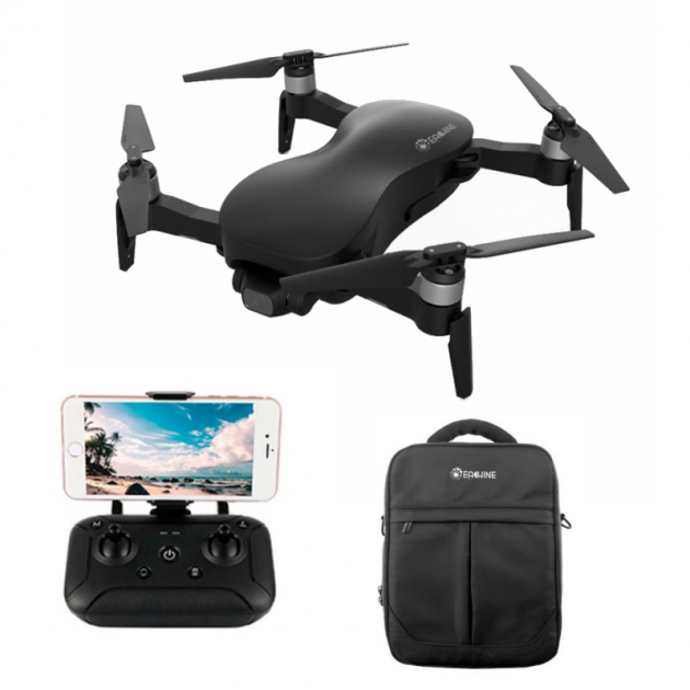 [EU stock - CZ] Upgraded Eachine EX4 5G WIFI 3KM FPV GPS With 4K HD Camera 3-Axis Stable Gimbal 25 Mins Flight Time RC Drone Quadcopter RTF - With Storage Bag Two Batteries 3KM Black