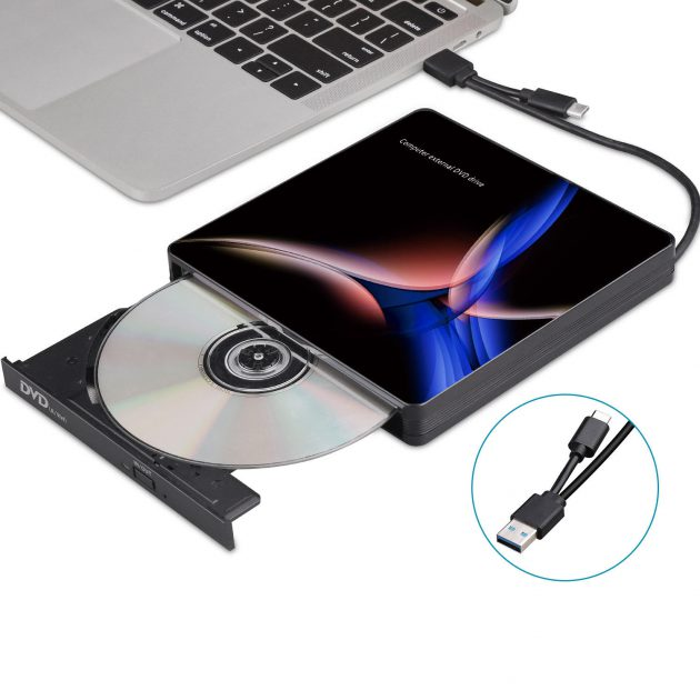 USB-C External Optical Drive USB 3.0 Type-C CD/DVD Player DVD Burner for PC Laptop Windows