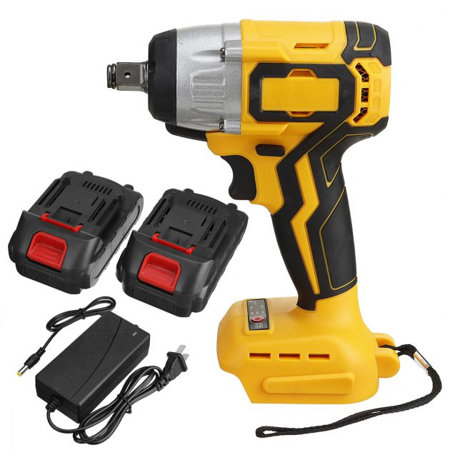 """19800mAh 288VF 630N.m 1/2"""" Brushless Cordless Electric Impact Wrench W/ 2 Batteries"""