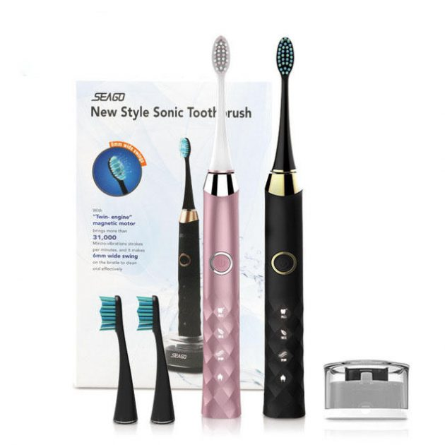 SEAGO S1 Sonic Smart Electric Toothbrush 3 Brush Modes Whitening USB Rechargeable IPX7 Waterproof Diamond Clean Toothbrush with 3 Replaceable Brush Heads