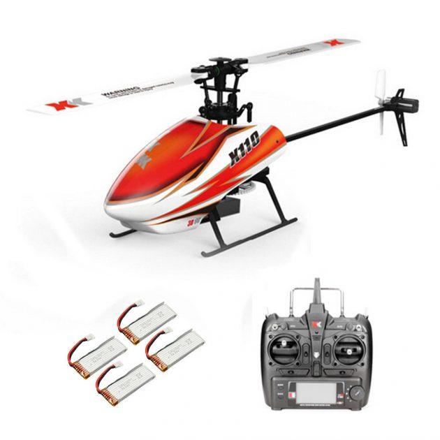 XK K110 2.4G 6CH 3D Flybarless RC Helicopter RTF Compatible With FU-TABA S-FHSS With 4PCS 3.7V 450MAH Lipo Battery