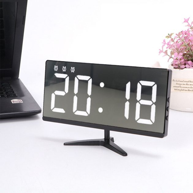 [EU stock - CZ] 6615 Framless Mirror Clock Touch Control Digital Alarm Clock LED Table Clock Electronic Time Date Temperature Display Office Home Decorations
