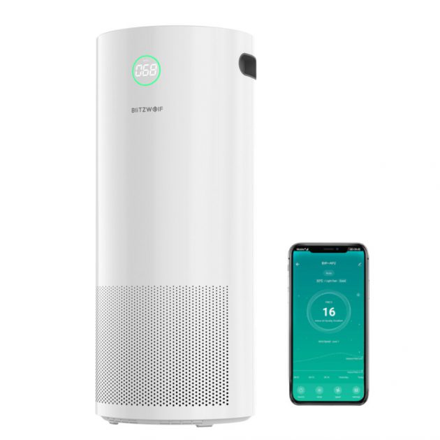 [EU stock - CZ] BlitzWolf BW-AP2 360°Anion Smart Air Purifier 500m/h CADR,H12 HEPA Filter,34db Quiet Air Cleaner,3 Mode,4 Gear Wind Speed,Timing Function with APP Control