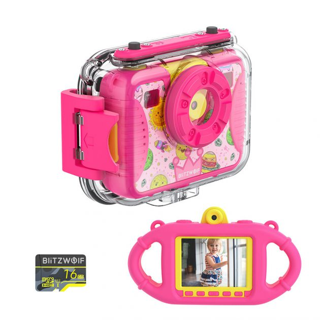 [EU stock - CZ] BlitzWolf BW-KC2 Kids Camera Waterproof 8MP Photo 1080p Sports and Diving Camera Continuous Shooting Videos Digital Camera for Girls and Boys Birthday Christmas Gifts with 16GB TF Card