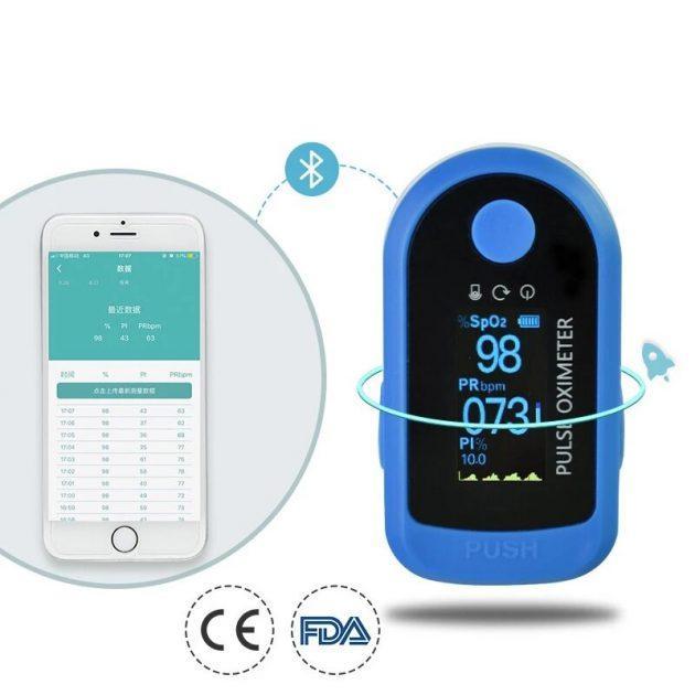 BOXYM Bluetooth Finger Pulse Oximeter APP Control SpO2 PI PR Monitoring Oximeter