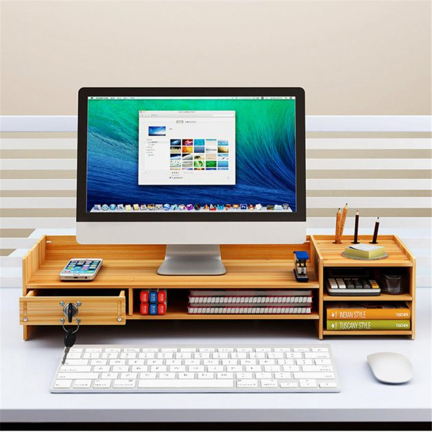 [EU stock - CZ] Multi-function Desktop Monitor Stand Computer Laptop Screen Riser Wood Shelf Desk Storage Holder with Lock