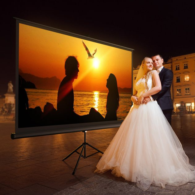 [EU stock - CZ] BlitzWolf BW-VS1 Bracket Projector Screen Beamer Curtain 100-Inch 1080P Full HD with Stand 16:9 3D Display White Plastic Projector Curtain with Large Screen Steady Tripod 160° Viewing Angle for Movies Home Theater Outdoor Indoor