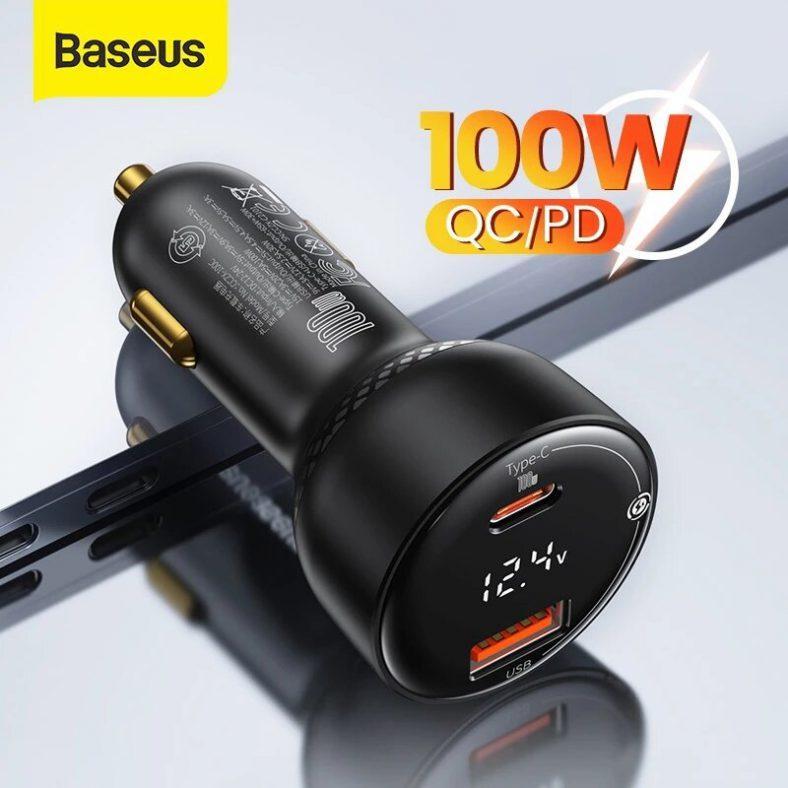 Baseus 100W 2-Port USB PD QC3.0 Car Charger