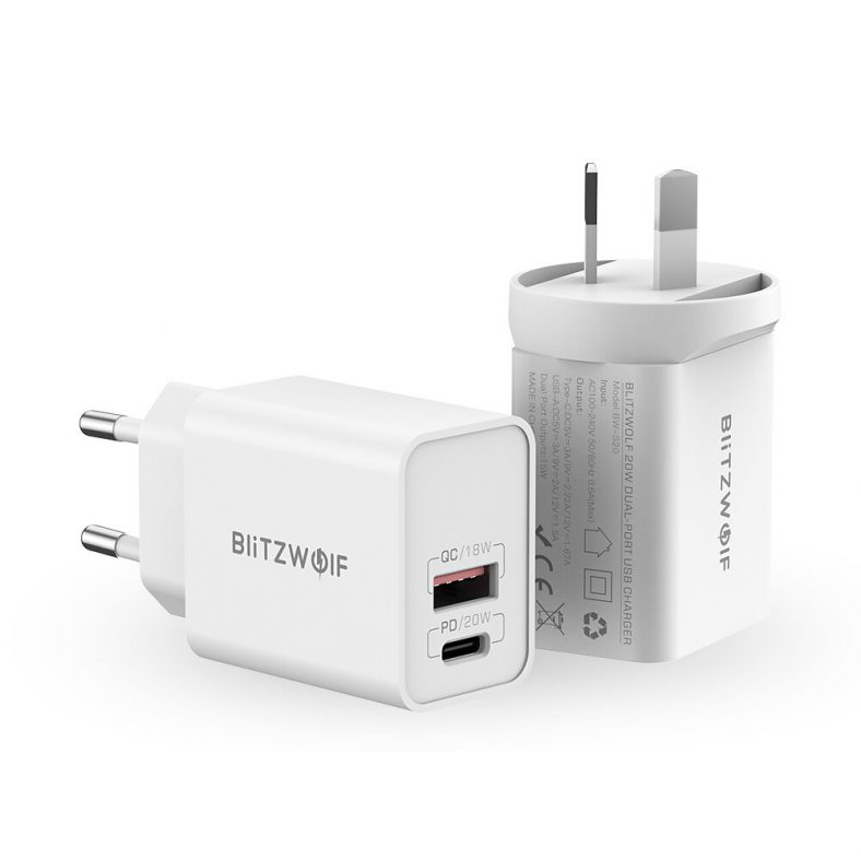 BlitzWolf BW-S20 20W 2-Port PD3.0 QC3.0 Wall Charger Support PPS FCP SCP AFC Fast Charging EU AU Plug Adapter for iPhone 12 12 Mini 12 Pro Max for Samsung Galaxy Note S20 ultra Huawei Mate 40 Xiaomi Mi 10